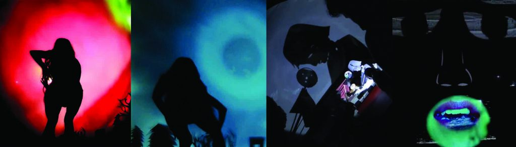 4 images from left to right depict shadow scenes. The first on the left features a person's silhouette bent forward with right elbow raised. Behind the figure a pink bubble expands to a deep red and then into a black vignette with plants and Earth. A green light streaks across the top right. In the second image the person's silhouette is still bent forward, but the left elbow is raised. A blue bubble expands in the sky from a dark centre to a light ring and then a dark ring and into black. Coniferous trees stand on the left and leafless deciduous trees stand behind the person. An outhouse sits at the bottom right. In the third image light falls on shadow puppets in the foreground. Their shadows fall on a screen revealing a child looking down and a ladies washroom sign icon looks down at the child concerned.In the fourth and final image, a mouth with purplish lips is partially open mid sentence revealing the top row of teeth. The mouth is enclosed in shadow but a nose and eyes carved out of the shadow complete the face.